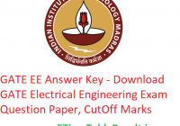 GATE 2019 EE Answer Key - Download 9th February GATE Electrical Engineering Exam Question Paper, CutOff