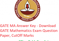 GATE 2019 MA Answer Key - Download 3rd February Mathematics Exam Question Paper, CutOff