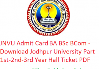 JNVU Admit Card 2019 BA B.Sc B.Com - Download Jodhpur University Part 1st-2nd-3rd Year Hall Ticket, Roll No