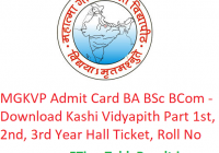 MGKVP Admit Card 2019 BA B.Sc B.Com - Download Kashi Vidyapith Part 1st-2nd-3rd Year Exam Hall Ticket, Roll No