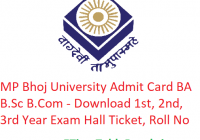 MP Bhoj University Admit Card 2019 BA B.Sc B.Com - Download 1st-2nd-3rd Year Exam Hall Ticket, Roll No