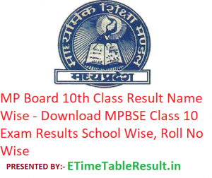 MP Board 10th Class Result 2019 Name Wise - Download MPBSE Class 10 Exam Results School Wise, Roll No Wise