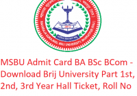 MSBU Admit Card 2019 BA B.Sc B.Com - Download Brij University Part 1st-2nd-3rd Year Hall Ticket, Roll No