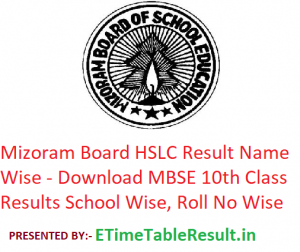 Mizoram Board HSLC Result 2019 Name Wise - Download MBSE 10th Class Exam Results School Wise, Roll No Wise