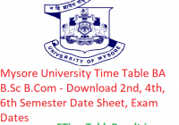 Mysore University Time Table 2019 BA B.Sc B.Com - Download 2nd-4th-6th Semester Date Sheet, Exam Dates