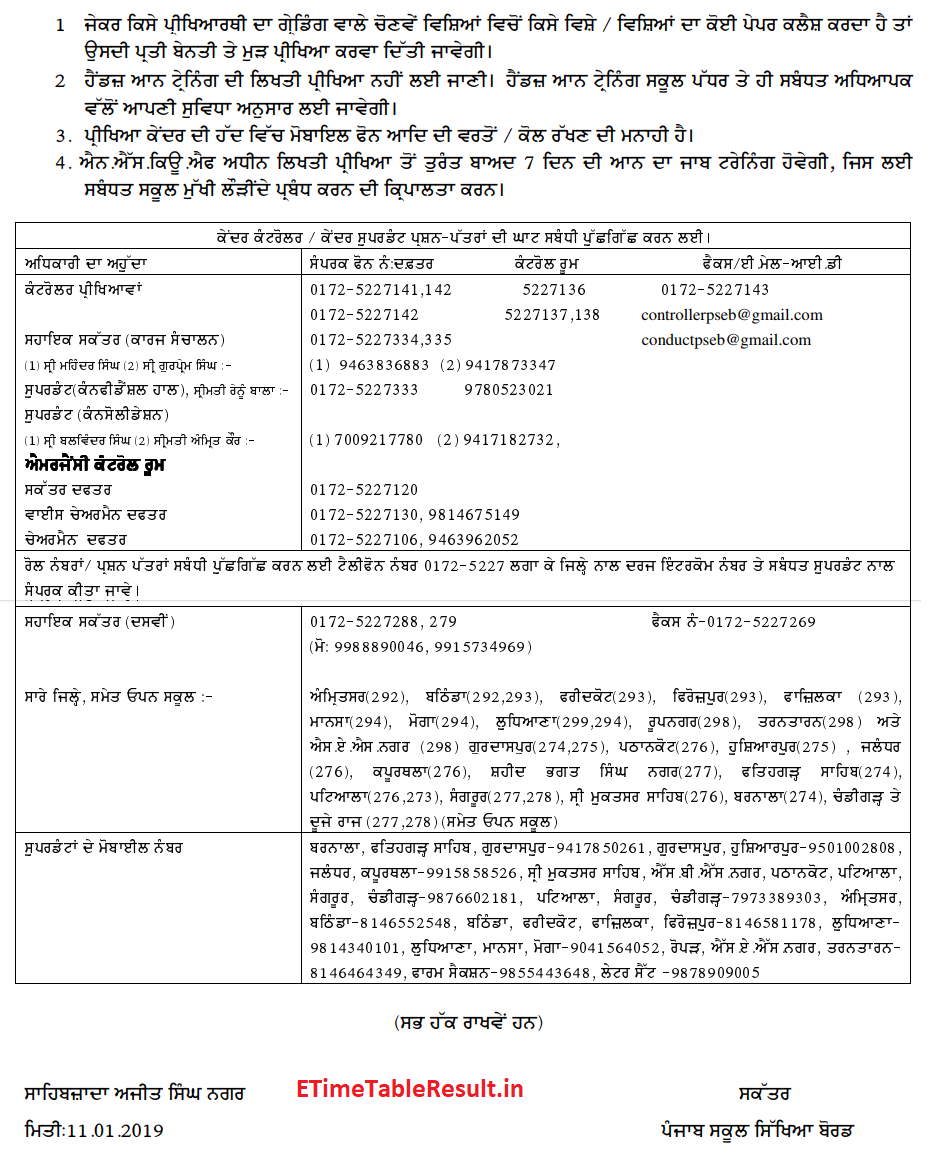 Punjab Board 10th Class Time Table 2019 Matric Exam Dates Check Here