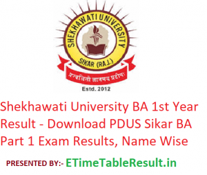 Shekhawati University BA 1st Year Result 2019 - Download PDUSU Sikar BA Part 1 Exam Results, Name Wise