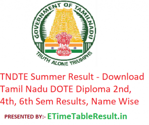 TNDTE Summer Result 2019 - Download Tamil Nadu DOTE Diploma 2nd-4th-6th Sem Results, Name Wise