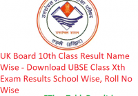 UK Board 10th Class Result 2019 Name Wise - Downlaod UBSE Class X Exam Results School Wise, Roll No Wise