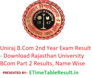 Uniraj B.Com 2nd Year Result 2019 - Download Rajasthan University BCom Part 2 Exam Results, Name Wise