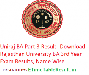 Uniraj BA 3rd Year Result 2019 - Download Rajasthan University ba Part 3 Exam Results, Name Wise