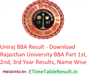 Uniraj BBA Result 2019 - Download Rajasthan University BBA 1st-2nd-3rd Year Exam Results, Name Wise