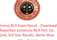 Uniraj BCA Result 2019 - Download Rajasthan University BCA Part 1st-2nd-3rd Year Results, Name Wise