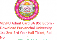 VBSPU Admit Card 2019 BA B.Sc B.Com - Download 1st-2nd-3rd Year Hall Ticket Purvanchal University, Roll No