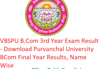 VBSPU B.Com 3rd Year Result 2019 - Download Purvanchal University BCom Final Year Exam Results, Name Wise