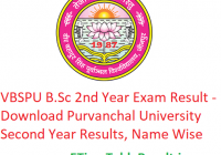 VBSPU B.Sc 2nd Year Result 2019 - Download Purvanchal University BSc Second Year Exam Results, Name Wise