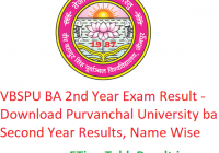 VBSPU BA 2nd Year Result 2019 - Download Purvanchal University BA Second Year Exam Results, Name Wise
