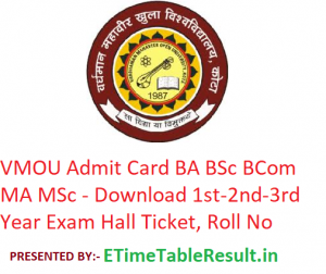 VMOU Admit Card 2019 BA BSc BCom MA MSc - Download 1st-2nd-3rd Year Exam Hall Ticket, Roll No