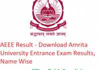 AEEE Result 2019 - Download Amrita University Entrance Exam Results, Name Wise