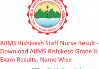 AIIMS Rishikesh Staff Nurse Result 2019 - Download AIIMS Rishikesh Grade II Exam Results, Name Wise