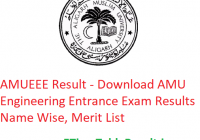 AMUEEE Result 2019 - Download AMU Engineering Entrance Exam Results Name Wise, Merit List