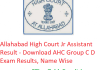 Allahabad High Court Jr. Assistant Result 2019 - Download AHC Group C & D Exam Results, Name Wise