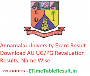 Annamalai University Result 2019 - Download AU Exam UG PG Revaluation Results, Name Wise