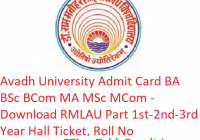 Avadh University Admit Card 2019 BA B.Sc B.Com MA M.Sc M.Com - Download RMLAU Part 1st-2nd-3rd Year Hall Ticket, Roll No
