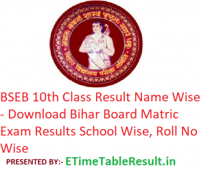 BSEB 10th Class Result 2019 Name Wise - Download Bihar Board Matric Results School Wise, Roll No Wise