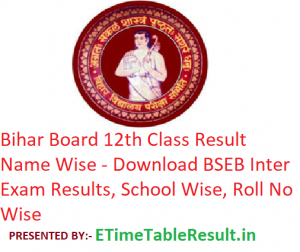 Bihar Board 12th Class Result 2019 Name Wise - Download BSEB Intermediate Exam Results School Wise, Roll No Wise