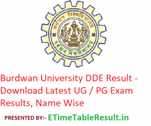 Burdwan University DDE Result 2019 - Download UG / PG Exam Results, Name Wise