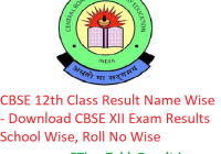CBSE 12th Class Result 2019 Name Wise - Download CBSE XII Board Exam Results School Wise, Roll No Wise
