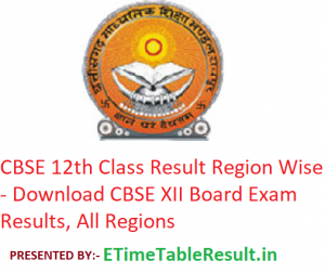 CBSE 12th Class Result 2019 Region Wise - Download CBSE XII Board Exam Results, All Regions