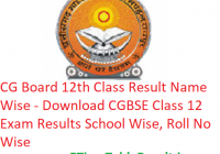 CG Board 12th Class Result 2019 Name Wise - Download CGBSE Class 12 Exam Results School Wise, Roll No Wise
