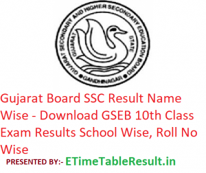 Gujarat Board SSC Result 2019 Name Wise - Download GSEB 10th Class Exam Results School Wise, Roll No Wise