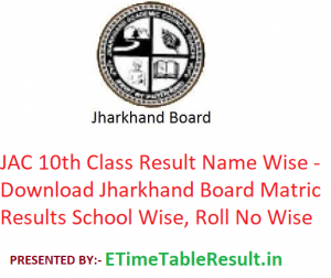 JAC 10th Class Result 2019 Name Wise - Download Jharkhand Board Matric Results School Wise, Roll No Wise