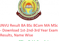 JNCU Result 2019 BA BSc BCom MA MSc - Download 1st-2nd-3rd Year Exam Results, Name Wise