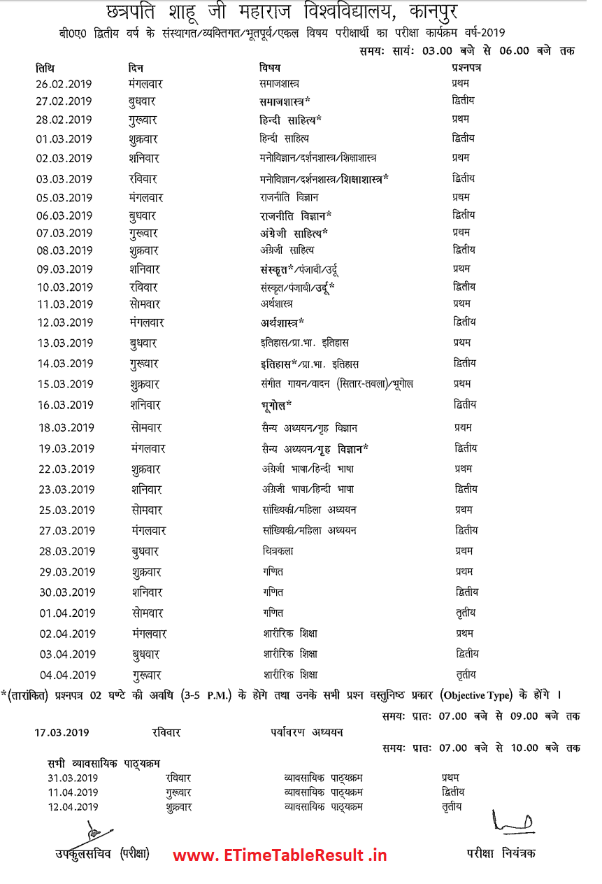 Make the time table  ba 2nd year private kanpur university