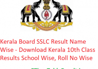 Kerala Board SSLC Result 2019 Name Wise - Download Kerala 10th Class Exam Results School Wise, Roll No Wise