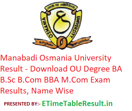 Osmania University Result 2019 Manabadi - Download OU Degree BA BSc