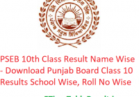 PSEB 10th Class Result 2019 Name Wise - Download Punjab Board Class 10 Exam Results School Wise, Roll No Wise