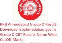 RRB Ahmedabad Group D Result 2019 – Download rrbahmedabad.gov.in Group D CBT Results Name Wise, CutOff Marks