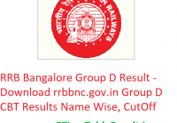 RRB Bangalore Group D Result 2019 - Download rrbbnc.gov.in Group D CBT Results Name Wise, CutOff
