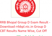 RRB Bhopal Group D Result 2019 - Download rrbbpl.nic.in Group D CBT Results Name Wise, CutOff Marks