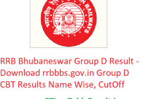 RRB Bhubaneswar Group D Result 2019 - Download rrbbbs.gov.in Group D Results Name Wise, CutOff Marks