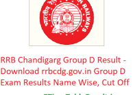 RRB Chandigarh Group D Result 2019 - Download rrbcdg.gov.in Group D Written Exam Results Name Wise, CutOff Marks