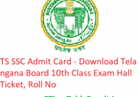 TS SSC Admit Card 2019 - Download Telangana Board 10th Class Hall Ticket, Roll No