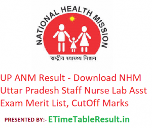 UP ANM Result 2019 - Download NHM UP Staff Nurse Lab Assistant Exam Merit List Online