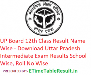UP Board 12th Class Result 2019 Name Wise - Download Uttar Pradesh Intermediate Results School Wise, Roll No Wise