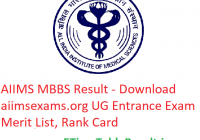 AIIMS MBBS Result 2019 - Download aiimsexams.org UG Entrance Exam Merit List, Rank Card
